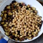 Vegan chickpea curry with eggplant and canned chickpeas