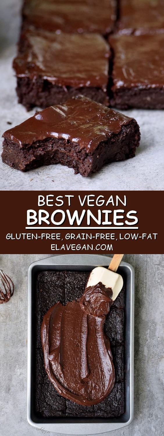 best vegan brownies with a chocolate glaze gluten-free grain-free low-fat