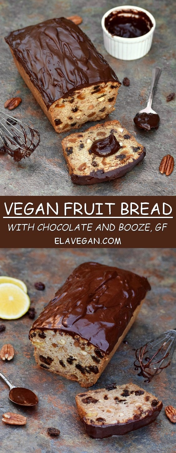 vegan fruit bread with chocolate and booze - gluten free recipe