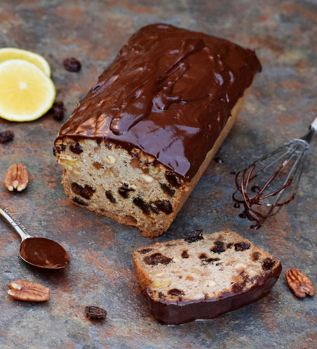 vegan fruit cake dairy free recipe which is boozy, moist and rich