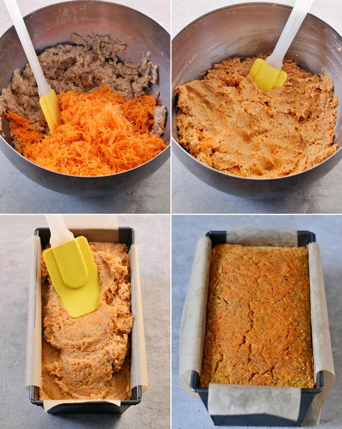 4 process shots of mixing grated carrots with cake batter and adding it to a loaf pan