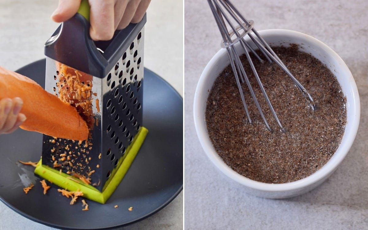 process shots of grating carrot and making a flax egg