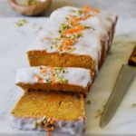 vegan carrot cake loaf with chopped nuts