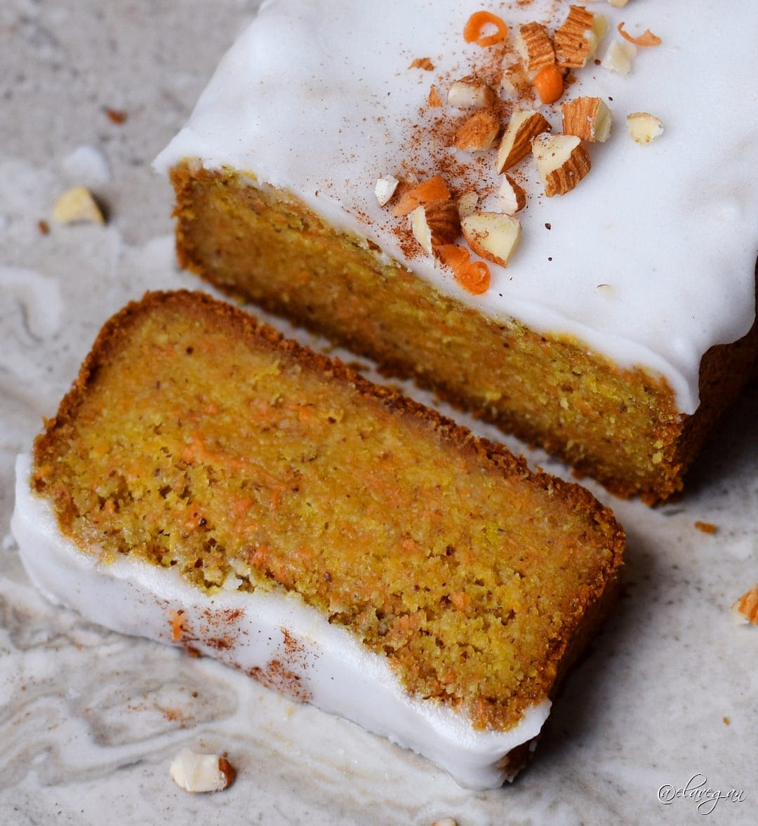 Vegan gluten free carrot cake with low-fat and low calorie icing