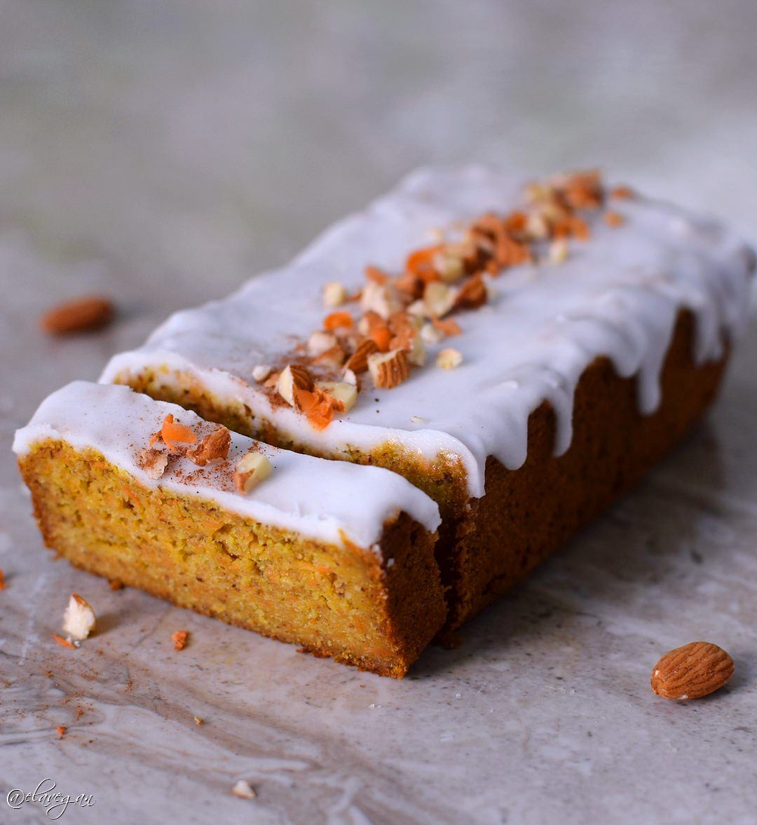 Vegan gluten free carrot cake with a refined sugar-free Erythritol icing