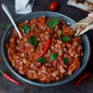 Vegan chili recipe with beans | chili sin carne