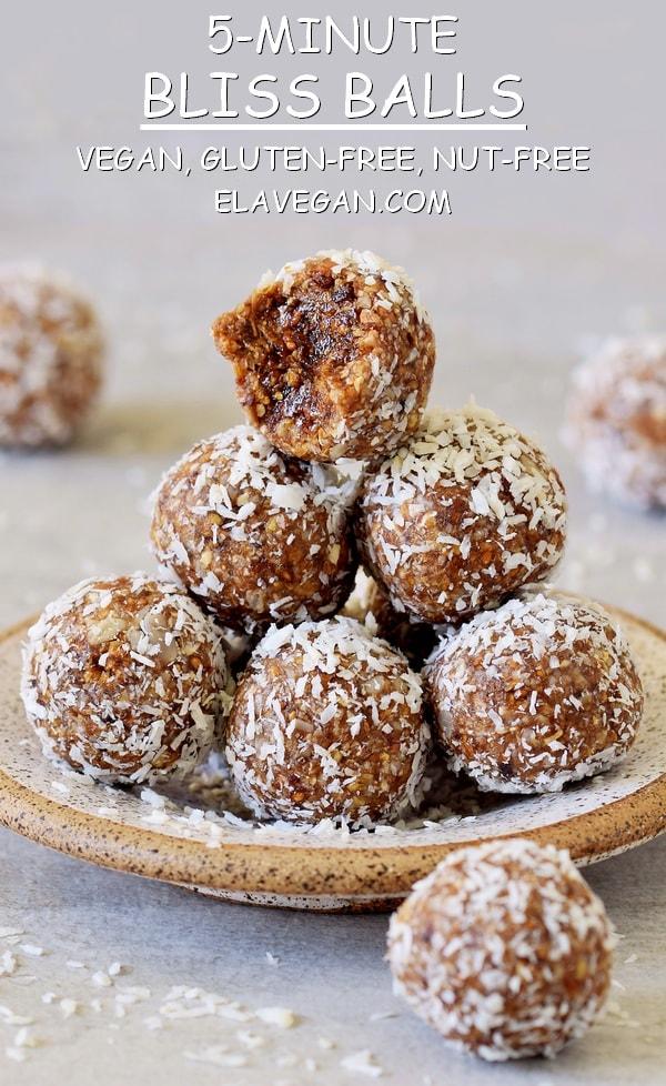 5-minute bliss balls recipe vegan gluten-free nut-free