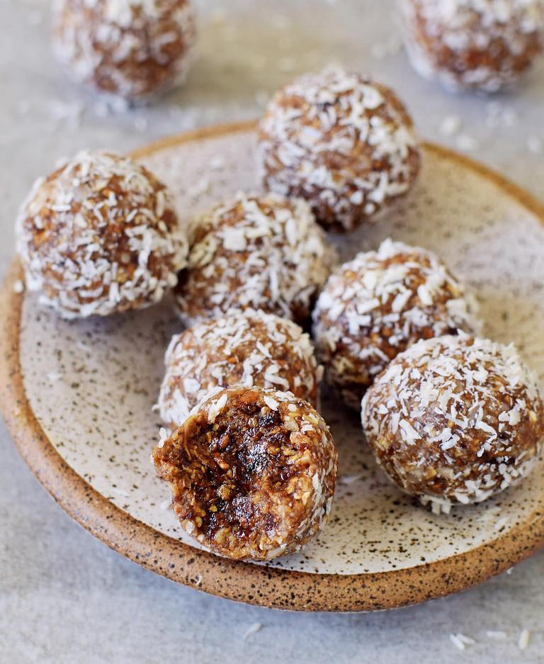gluten-free vegan truffles with dates coconut sunflower seeds and mulberries