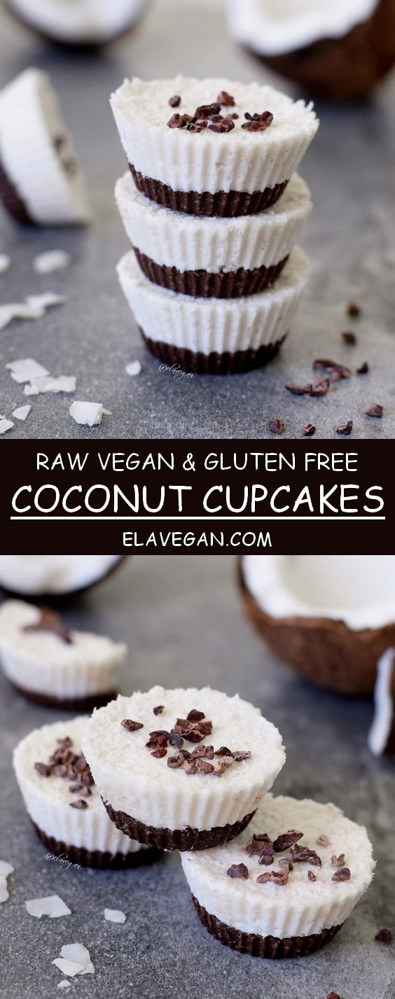 Raw coconut cupcakes, a vegan and gluten free recipe similar to bounty bars - pinterest