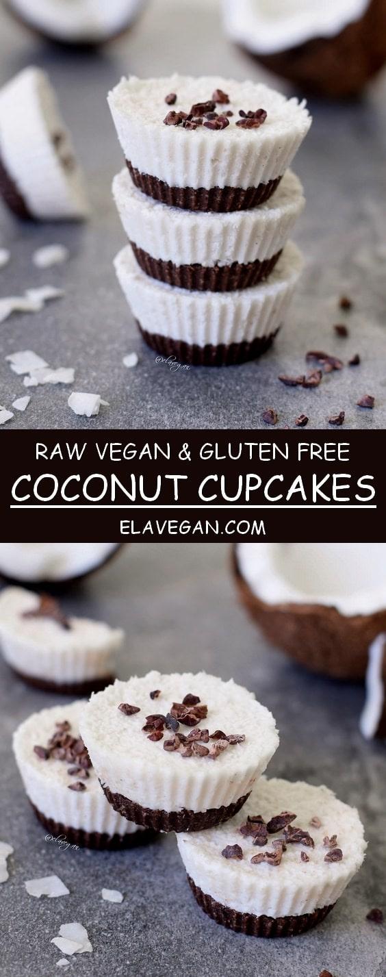 Raw coconut cupcakes, a vegan and gluten free recipe similar to bounty bars - pinterest