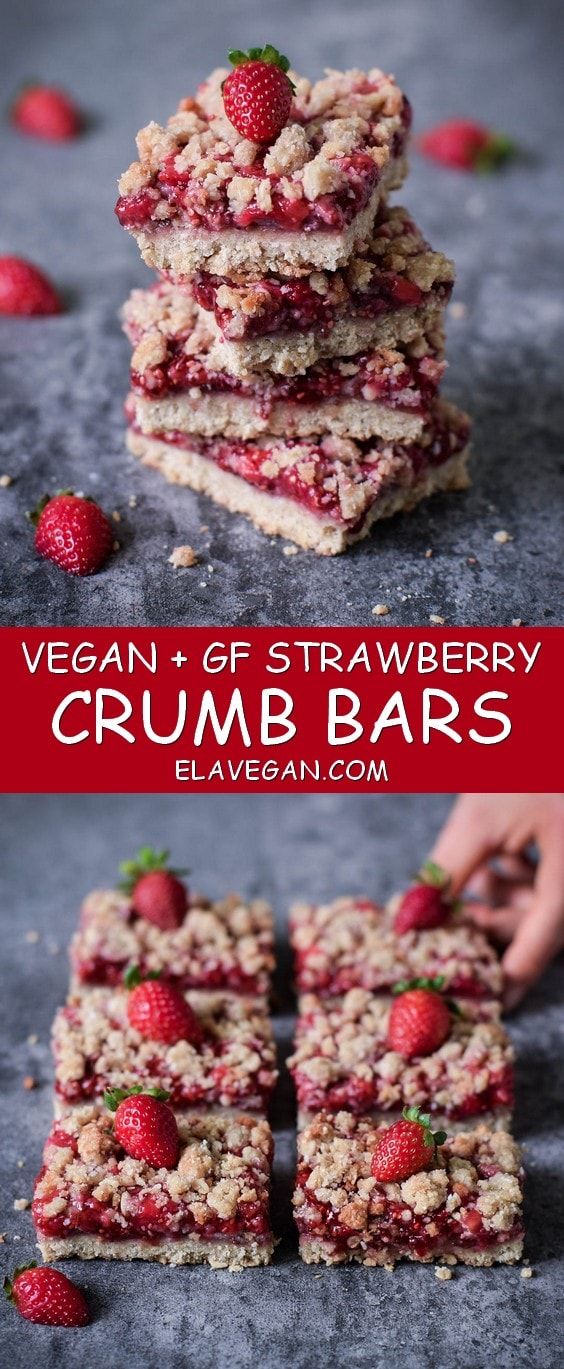 Strawberry crumb bars vegan, gluten free and refined sugar free recipe with oats. These plantbased crumble bars are low in fat and easy to make