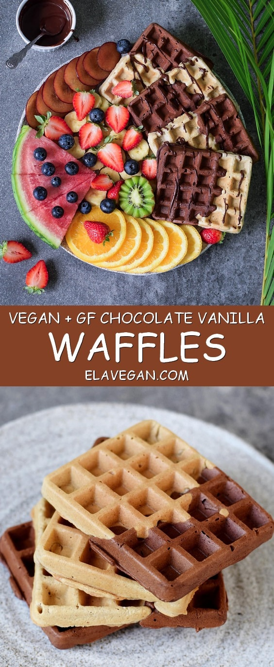 Vegan gluten free waffles with fruits, maple syrup and chocolate. This waffle recipe is healthy, refined sugar free, low in fat and easy to make