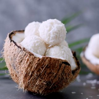 Coconut candy balls in a coconut shell