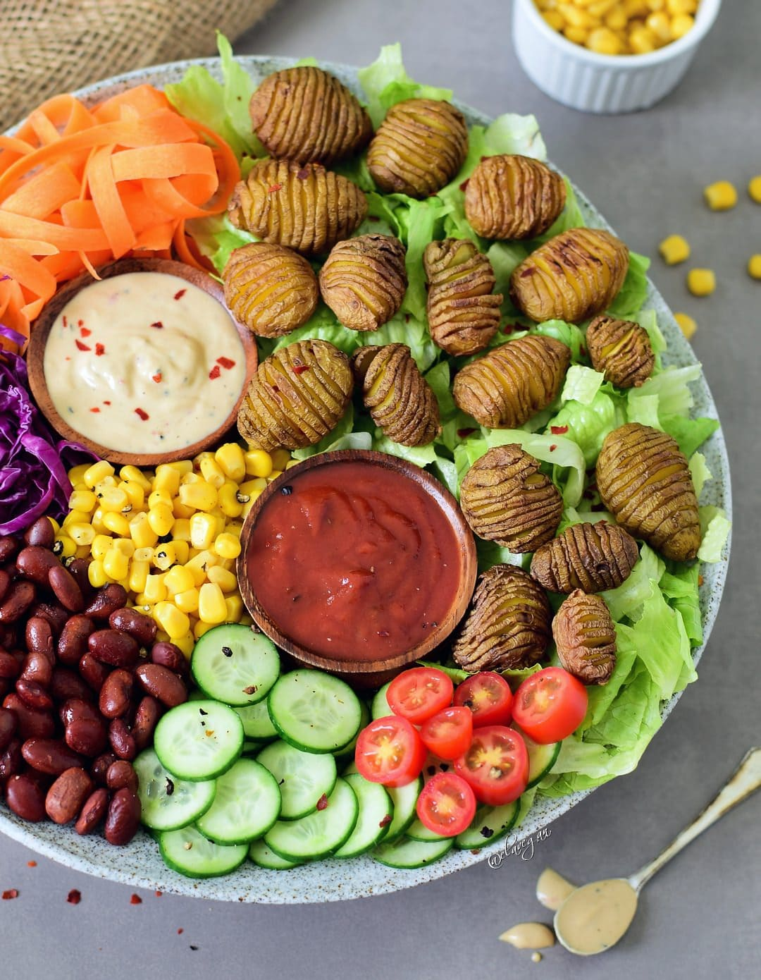 This Healthy Vegan Lunch Bowl With Hasselback Potatoes Is Filling Easy To Make And Delicious