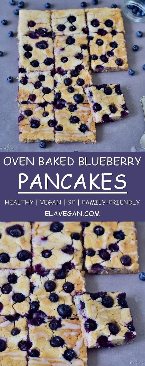 Oven baked blueberry pancakes vegan gluten-free easy