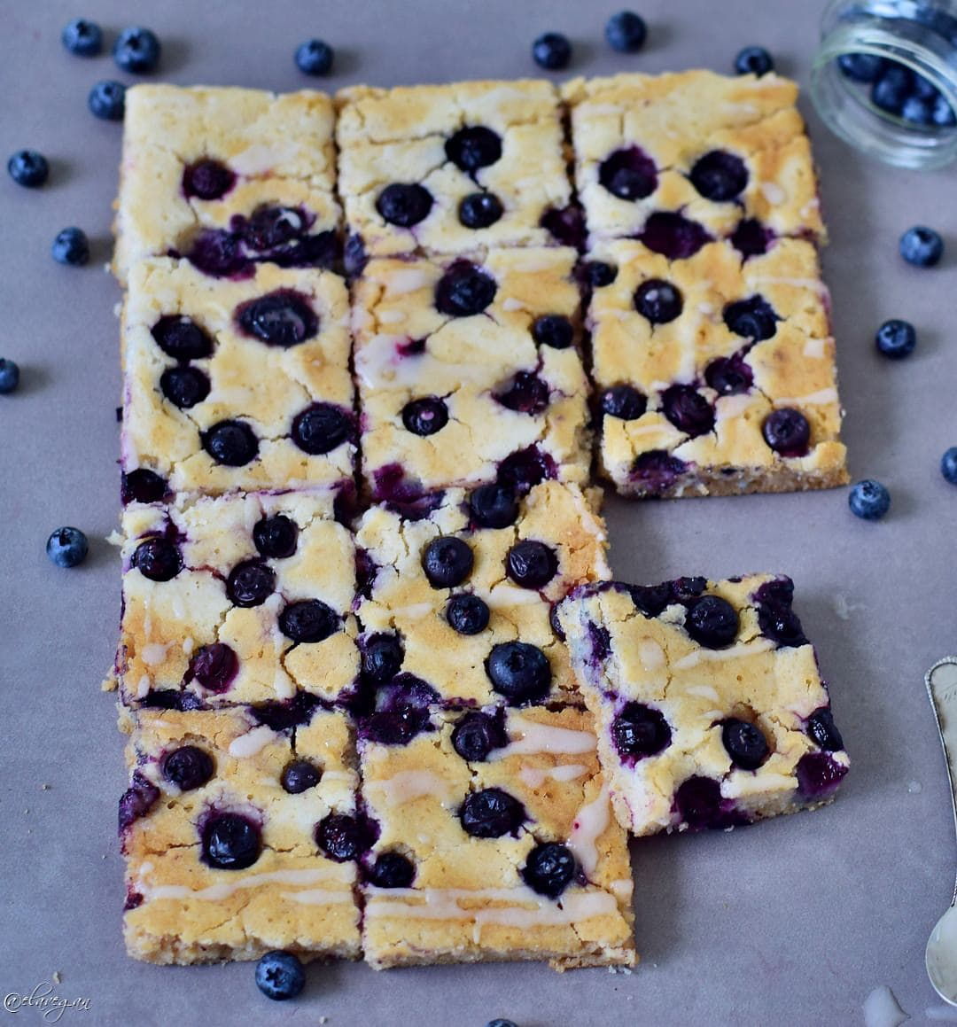 Oven baked blueberry pancakes made in a sheet pan vegan