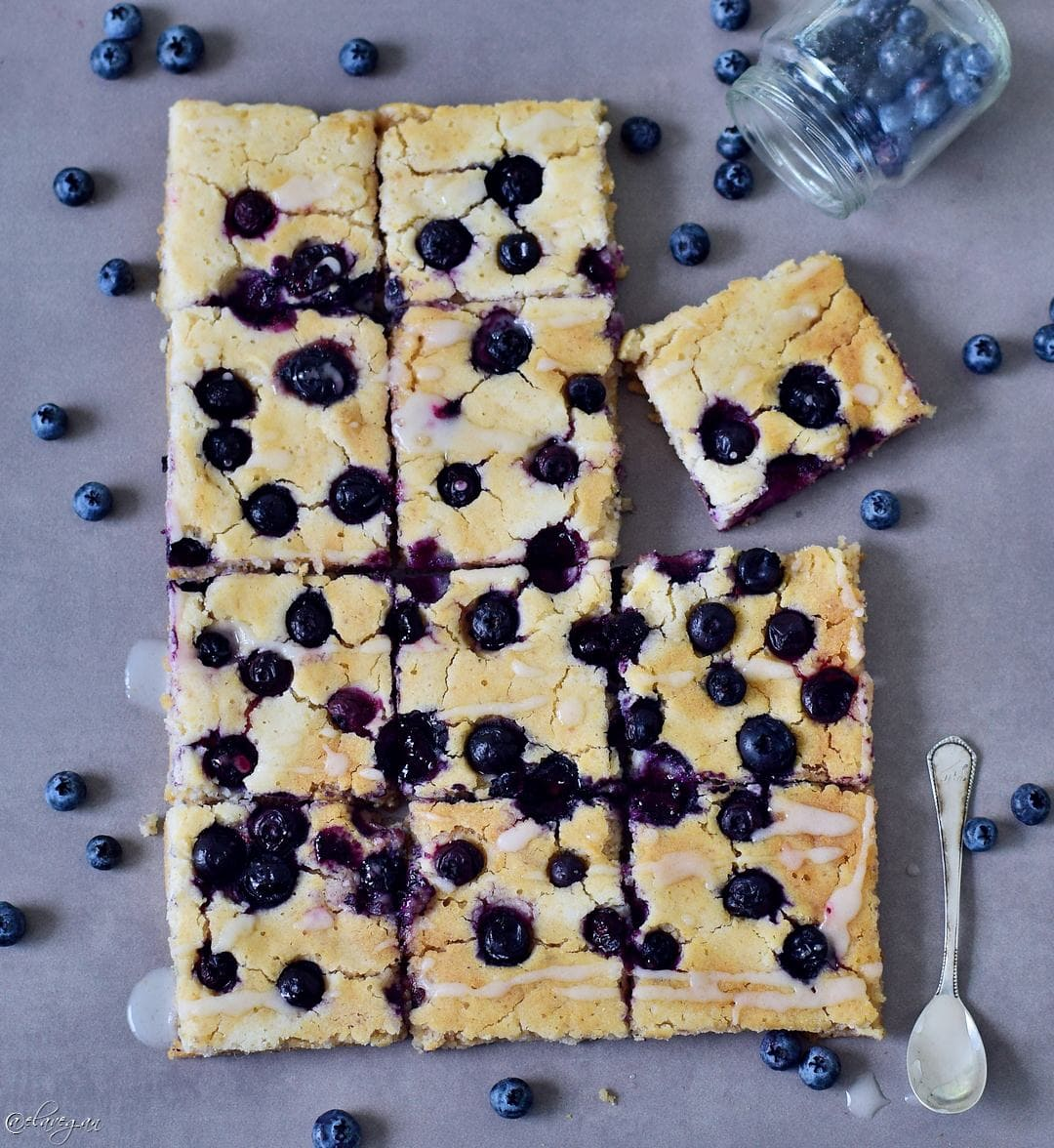 Oven baked blueberry pancakes. My blueberry sheet pancakes are vegan, gluten-free, healthy and low-fat. The recipe is easy to make and family friendly