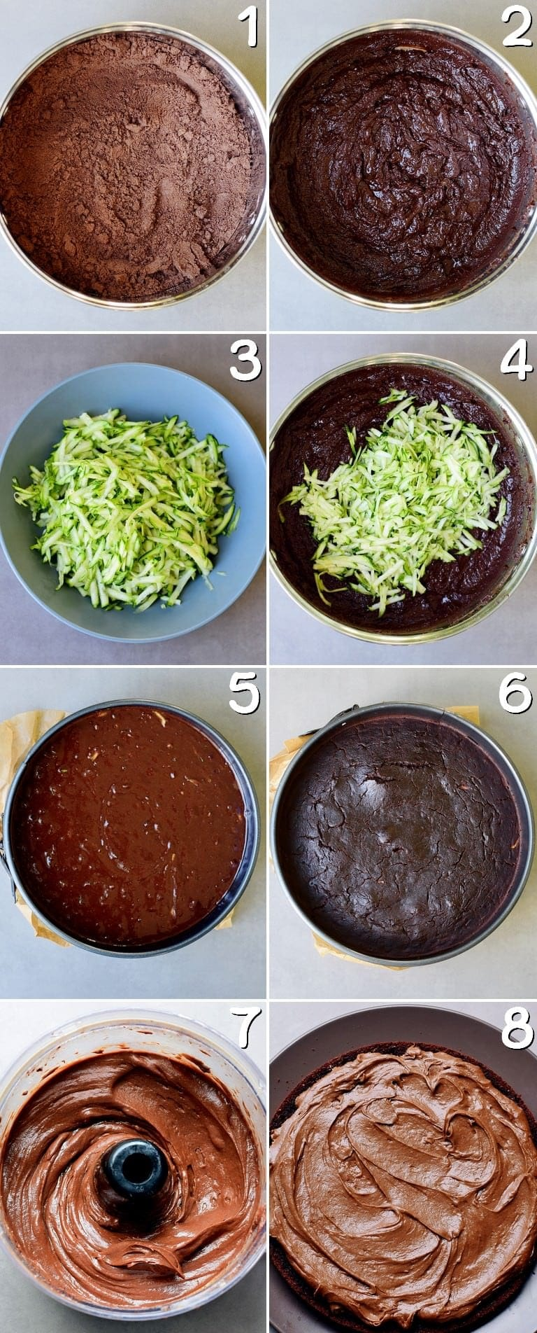 step-by-step process shots of how to make a gluten free chocolate cake with zucchini and sweet potato