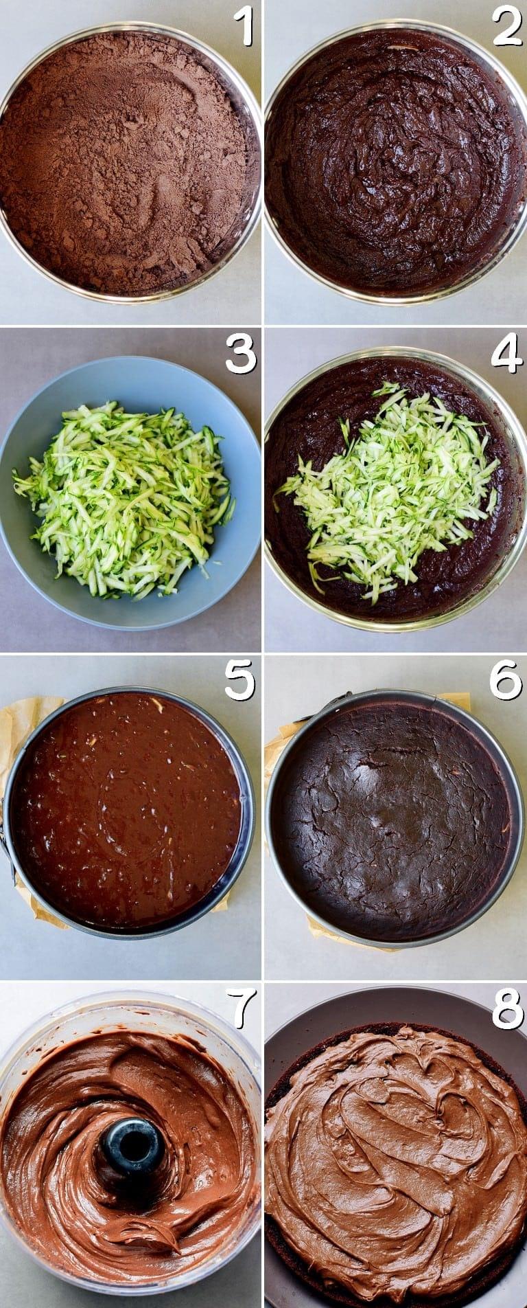 Schritt-Für-Schritt-Fotos für die Herstellung von einem Zucchini-Schokokuchen