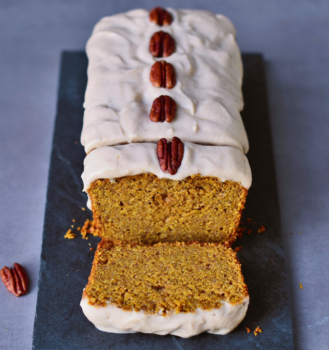 Vegan pumpkin cake with a fluffy cashew frosting. This vegan cake is gluten-free, oil-free, plant-based (egg-free, dairy-free), easy to make and healthy. Perfect recipe for autumn/fall