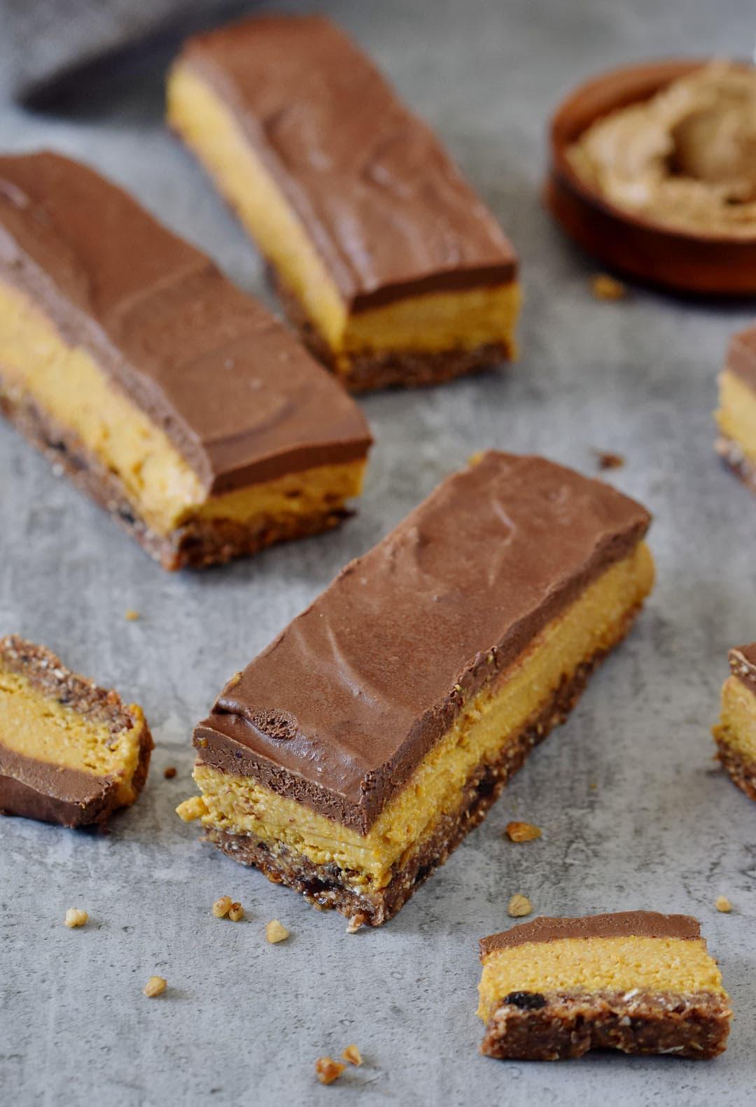 No bake pumpkin bars with a vegan and gluten-free chocolate glaze