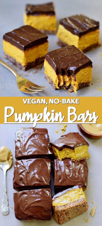 Vegan Pumpkin Bars With Chocolate (No-Bake)