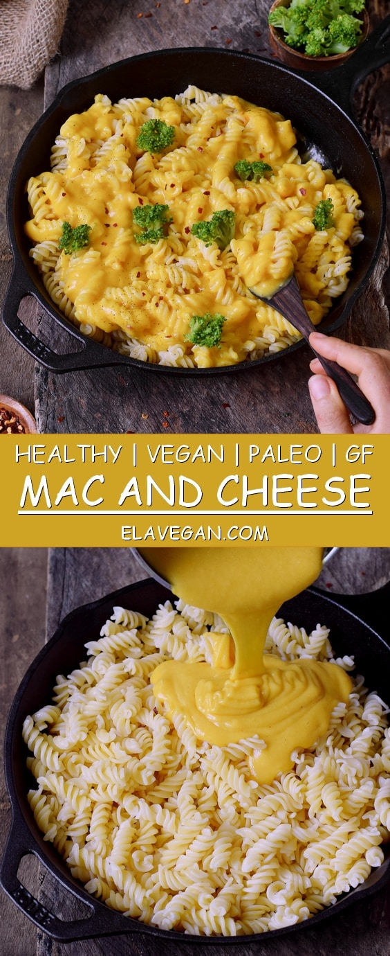 Pinterest collage of vegan Mac and Cheese with gluten-free pasta