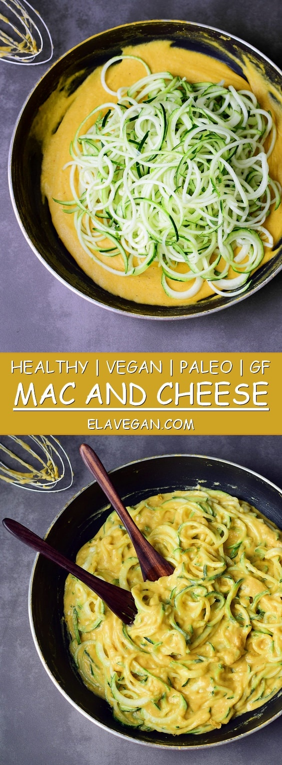 Healthy vegan Mac and Cheese with zoodles (zucchini noodles) or regular pasta. My mac n cheese recipe is gluten-free, paleo friendly, plant-based, low-carb and easy to make