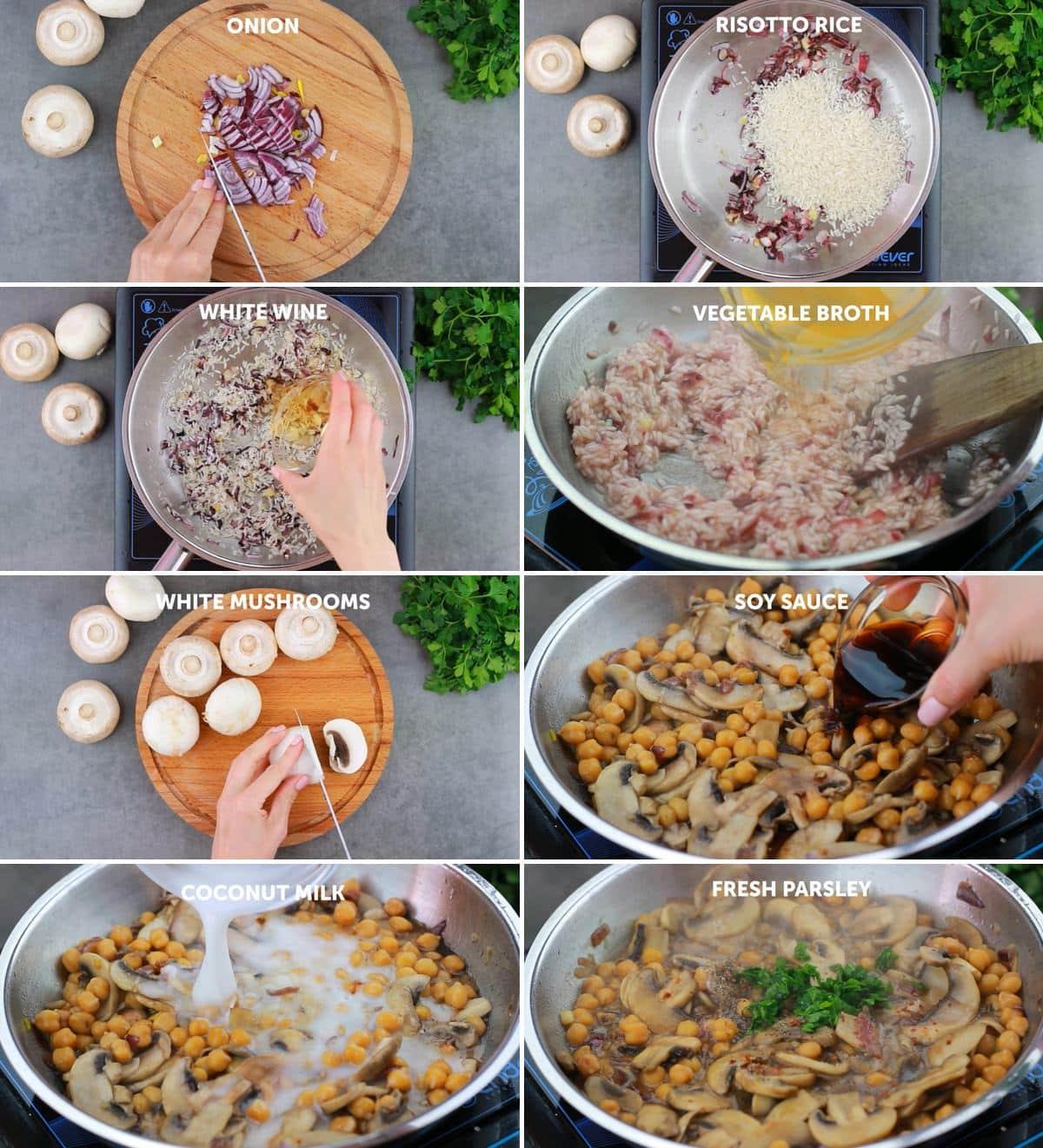 8 Zwischenschrittfotos von der Zubereitung von Risotto