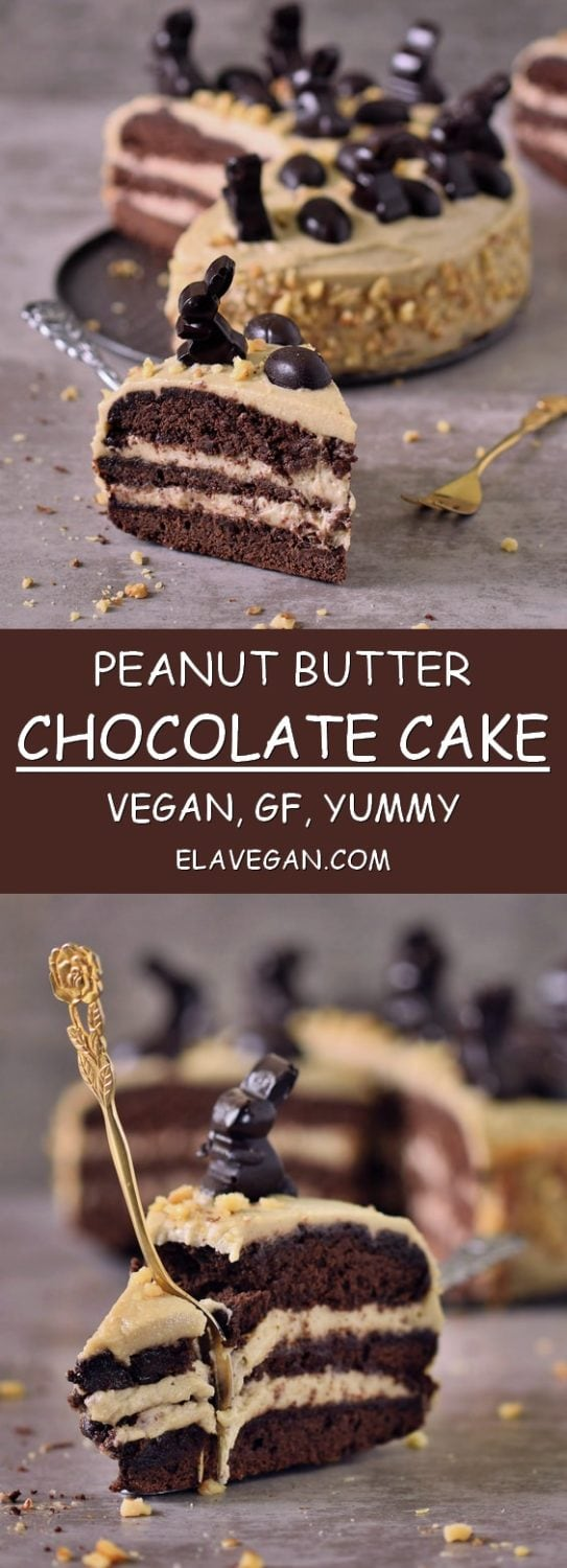 Pinterest collage Peanut butter chocolate cake