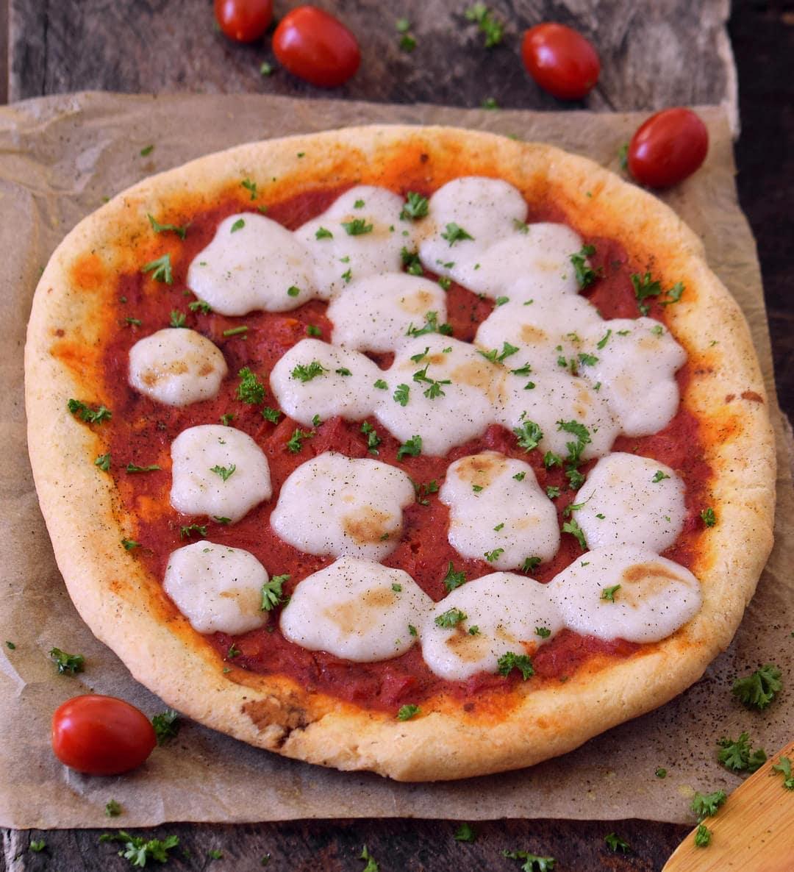Vegan Pizza Margherita. Gum-free, dairy-free, egg-free pizza dough