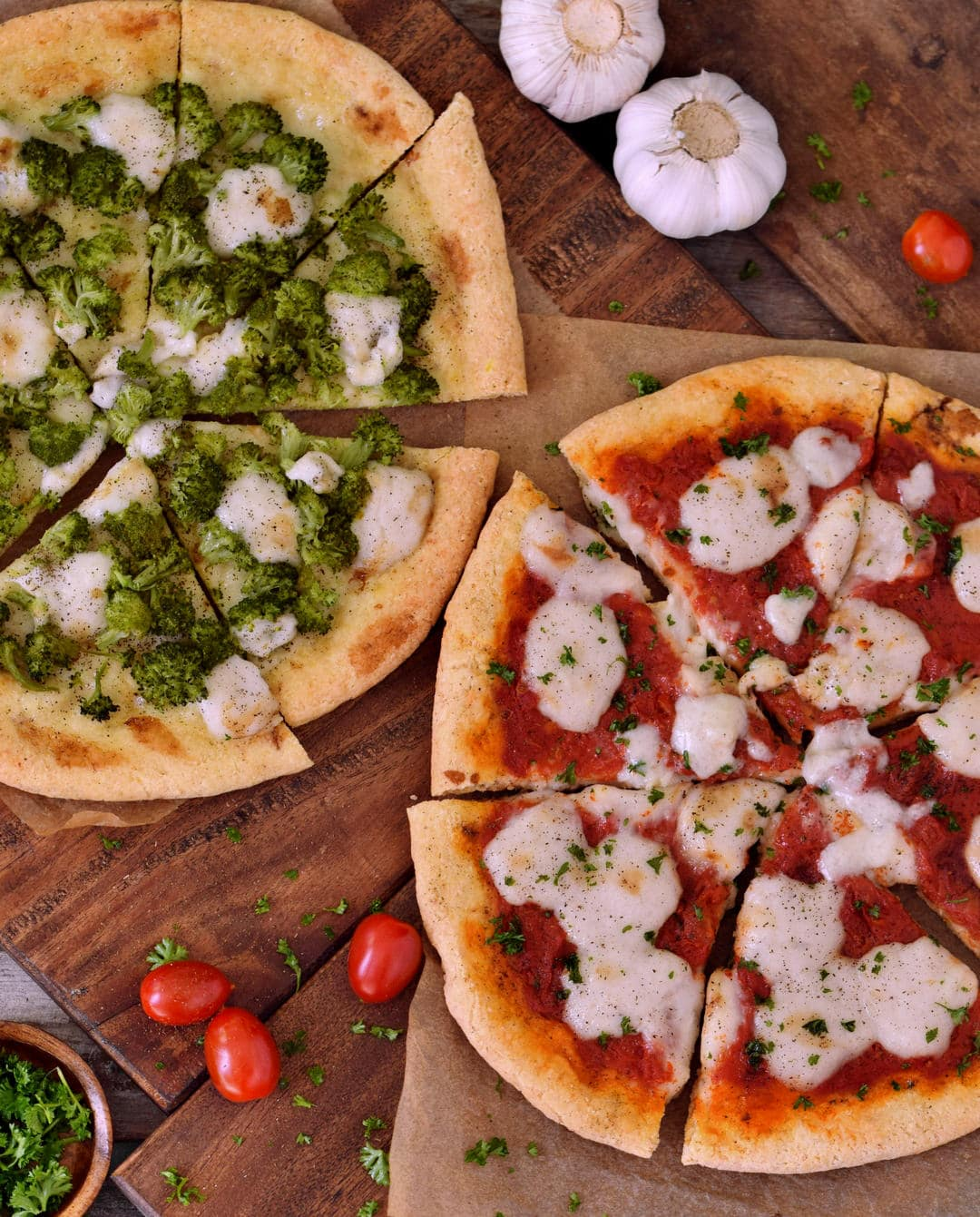Vegan Pizza Margherita and Broccoli pizza from above