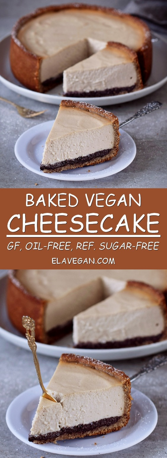 Baked vegan Cheesecake which is gluten-free, oil-free, and refined sugar-free