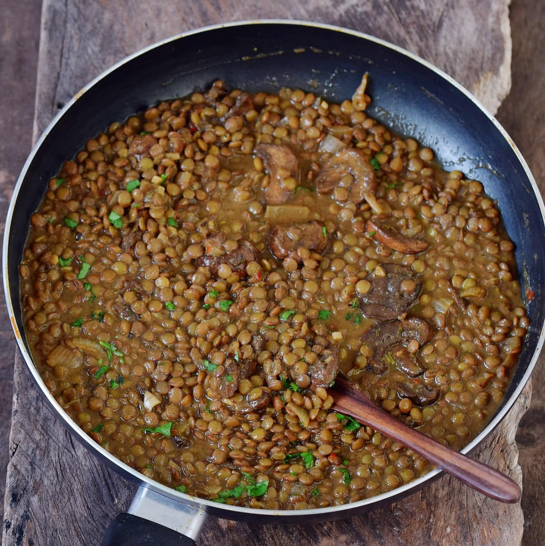Easy lentil stew in a skillet