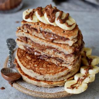 homemade vegan gluten-free chocolate stuffed pancakes recipe