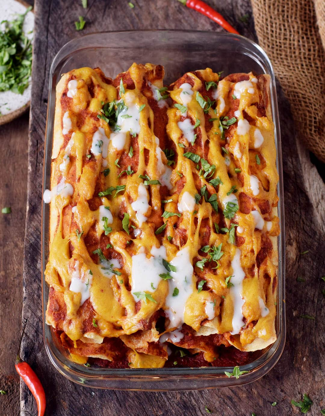 These protein-rich vegan enchiladas are made with lentils and other wholesome ingredients. They are gluten-free, plant-based, healthy, easy to make, nut-free, perfect for lunch or dinner and very tasty.