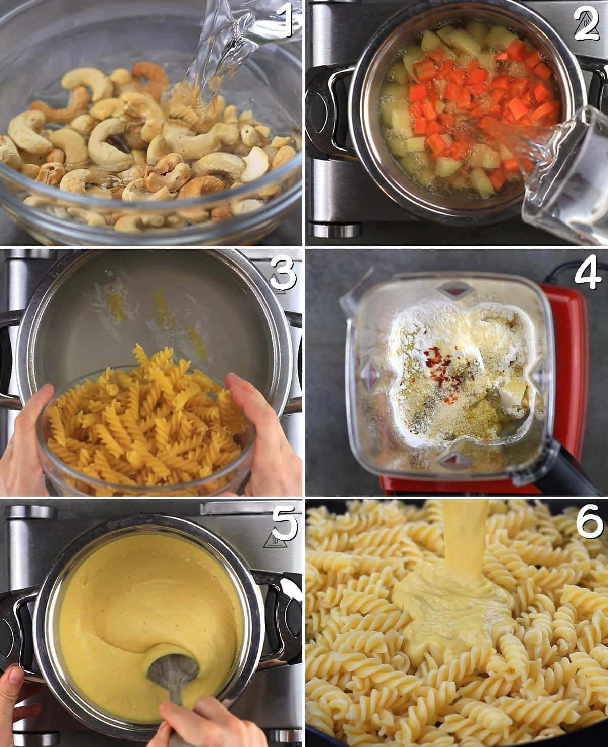 6 step-by-step photos how to make vegan Mac and Cheese sauce
