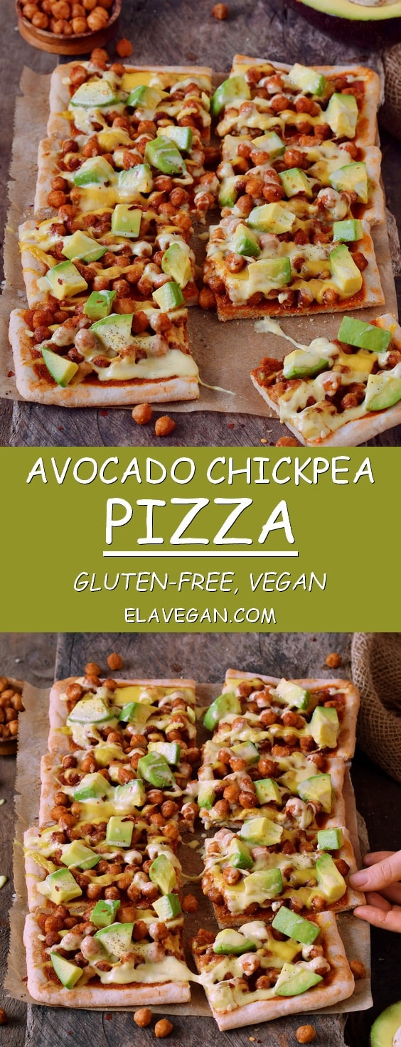 Avocado chickpea pizza with vegan cheese! This pizza is gluten-free, plant-based, contains healthy protein, fat, and carbs. Easy recipe which is perfect for lunch or dinner, especially on weekends.
