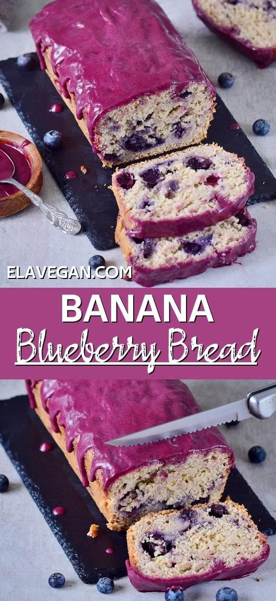 Pinterest collage banana blueberry bread