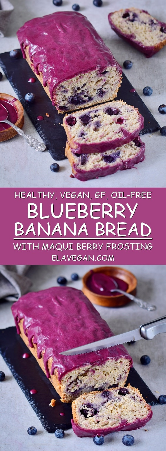 Blueberry banana bread with maqui berry frosting. This blueberry bread is vegan, gluten-free, oil-free, moist, refined sugar-free, and healthy.