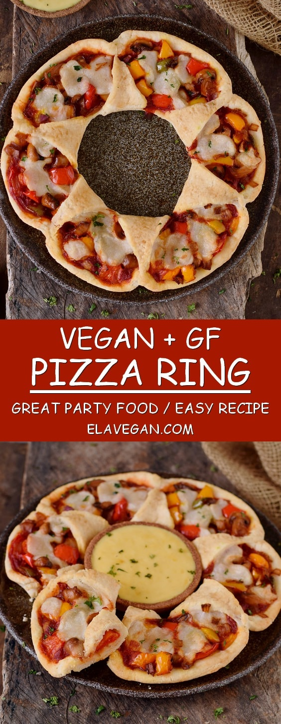 Pizza ring recipe vegan gluten free easy to make elavegan pizza ring with peppers mushrooms and vegan mozzarella vegan gluten free forumfinder Image collections