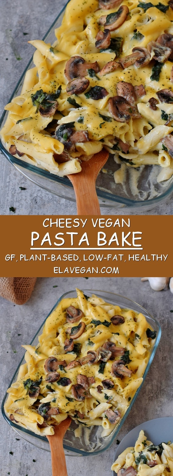 Vegan pasta bake recipe with cauliflower, mushrooms and spinach. This plant-based dinner or lunch is gluten-free, healthy and easy to make. Recipe for vegan cheese sauce included.