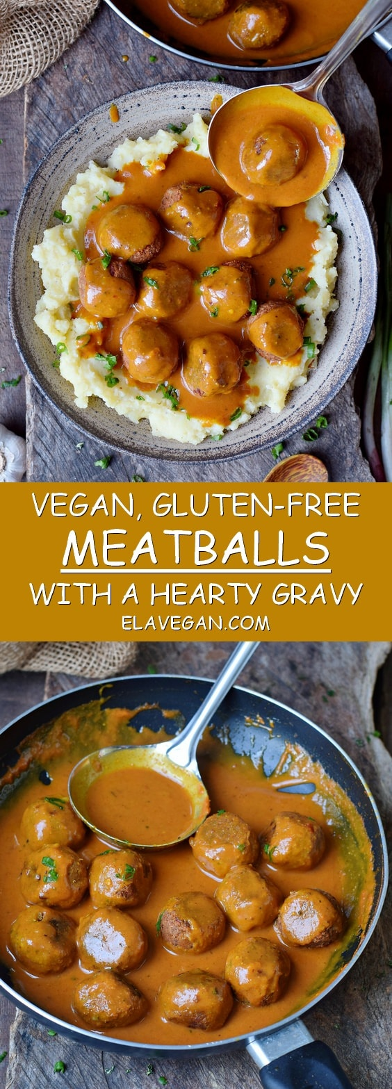 Vegan meatballs with gravy over mashed potatoes gluten-free recipe