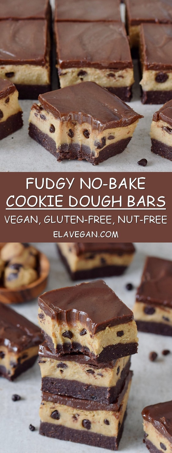 no-bake cookie dough bars pinterest collage vegan gluten-free recipe