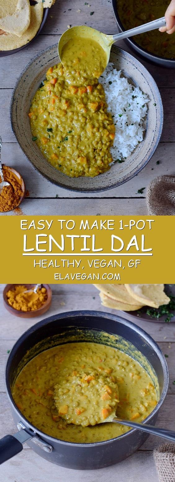 1-pot lentil dal with carrots healthy vegan gluten-free recipe
