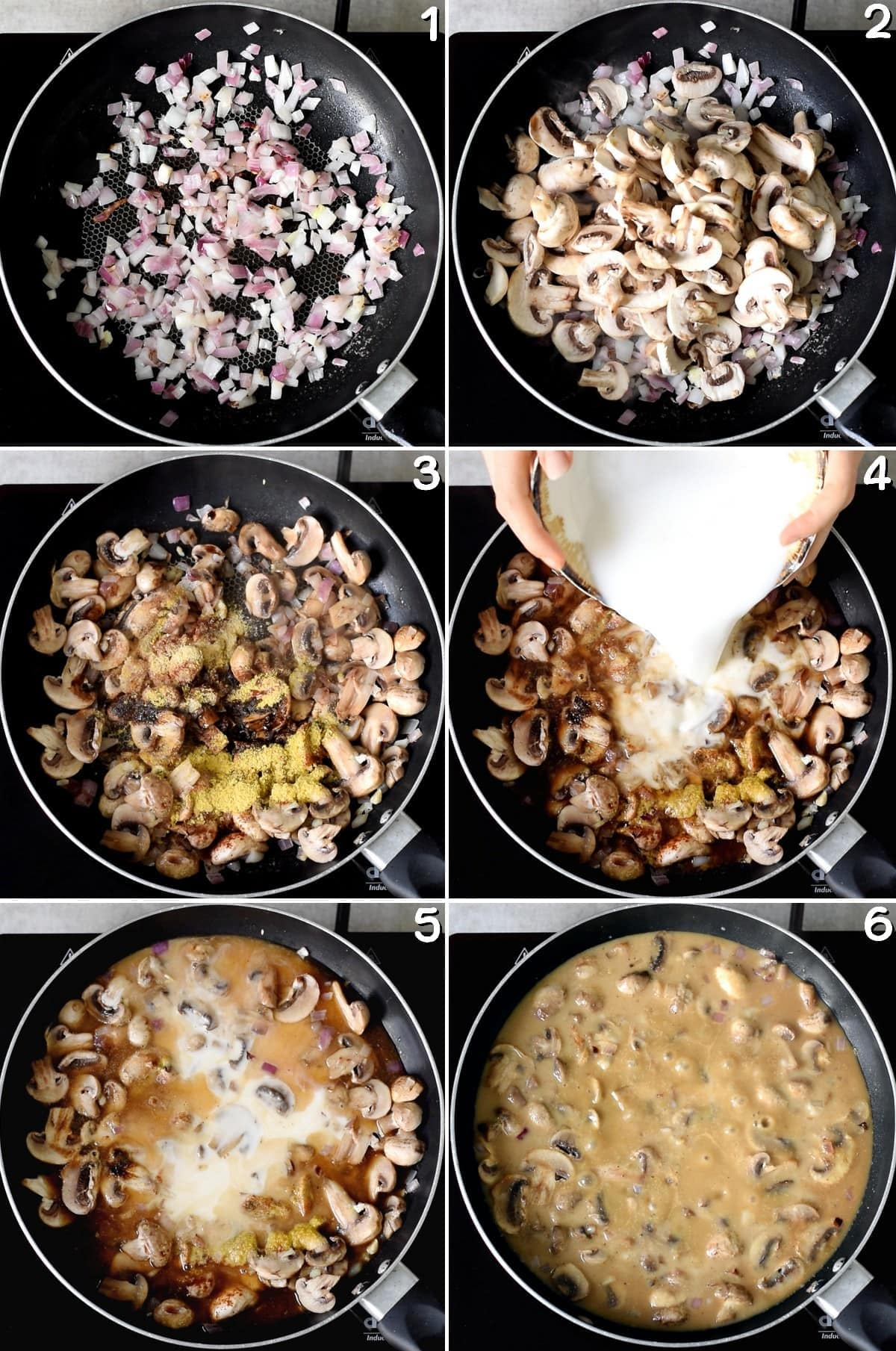 6 step-by-step photos how to make a brown sauce with white mushrooms