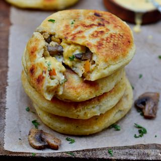Vegan cheese stuffed potato cakes with mushrooms