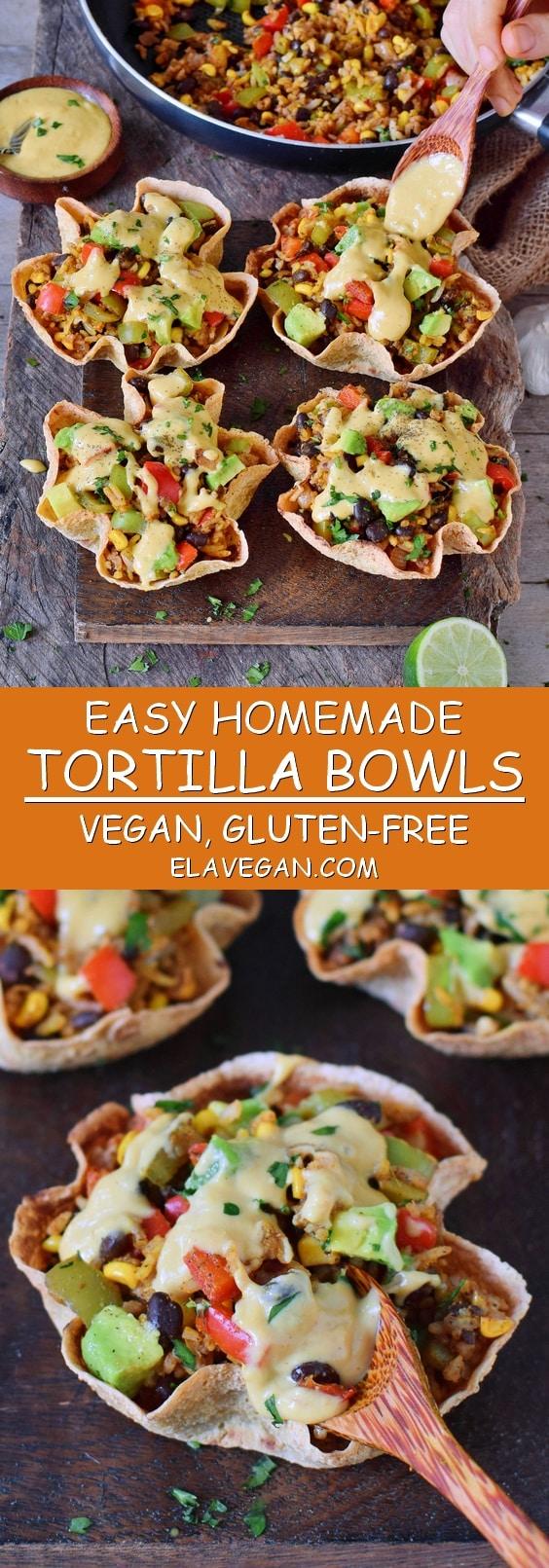 easy homemade gluten-free tortilla bowls aka taco cups with veggies avocado vegan cheese sauce black beans and corn