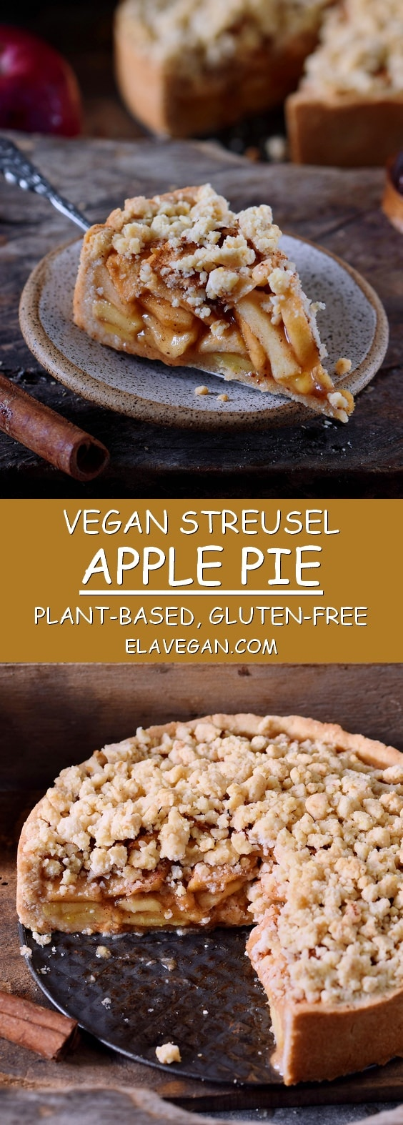 vegan apple pie with streusel gluten-free recipe pinterest collage
