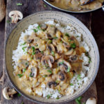 vegan mushroom stroganoff served with gluten-free brown rice